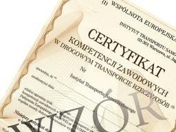 Certyfikat Kompetencji Zawodowych przewóz rzeczy