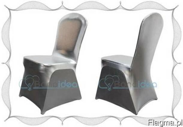 Чехлы на стулья серебряный металлик эластичные