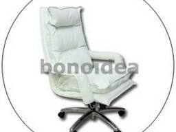 Кресло подушка для офиса, натуральная белая кожа