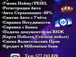 Прописка/Мельдунек/PESEL/Рег. Авто/Сан. Книга