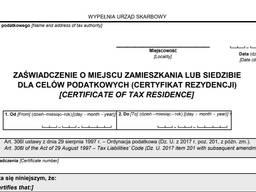 Usługa rejestracji zaświadczenia CFR-1