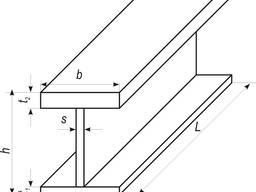 Стальной двутавр с разной толщиной полок, сварная балка